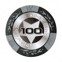 """Набор для покера """"БЛЭК СТАРС""""- 100 фишек с номиналом"""