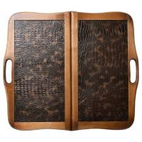 """Нарды деревянные """"КОЖАНЫЕ АЛЛИГАТОР"""" с ручкой 60х60 см."""