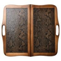 """Нарды деревянные """"КОЖАНЫЕ ПИТОН"""" с ручкой 60х60 см."""